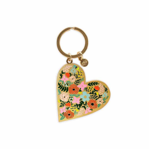 Rifle Paper Floral Heart Key Chain