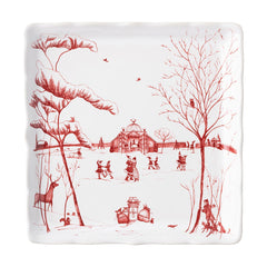 "Juliska Country Estate Winter Frolic ""Mr. & Mrs. Claus"" Ruby Sweets Tray"