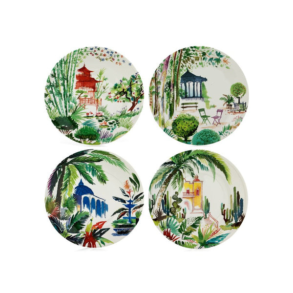Gien Jardins Extraordinaires Assorted Canape Plates S/4