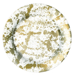 Caspari Gold Splatterware Dinner Plates