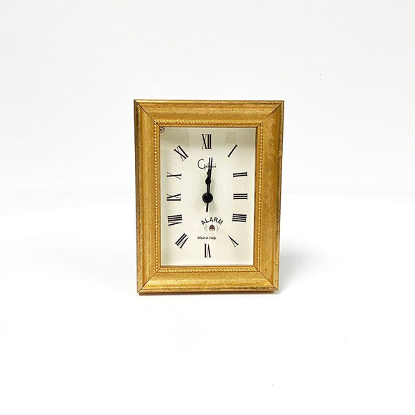 Italian Woods Bead Vintage Gold Small Clock - Handemade in USA