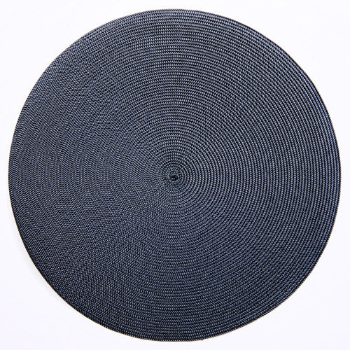 "Deborah Rhodes Grey/Navy Round 15"" Placemat (Set of 6)"