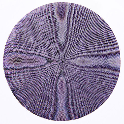 "Deborah Rhodes Grey/Prune Round 15"" Placemat (Set of 6)"