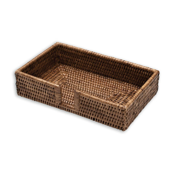 Caspari Rattan Guest Towel Napkin in Dark Natural