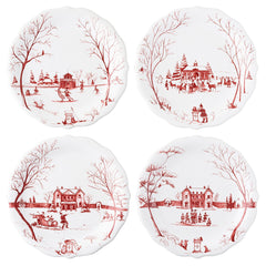 "Juliska Country Estate Winter Frolic ""Mr. & Mrs. Clause"" Ruby Party Plates S/4"