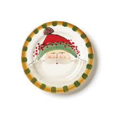 Vietri Old St. Nick Green Hat Round Salad Plate