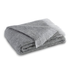 Lands Downunder Brushed Mohair Throw - Pewter
