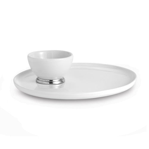 Arte Italica Tuscan Round Platter with Dipping Bowl