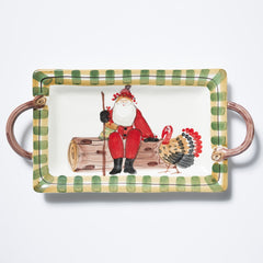 Vietri Old St. Nick Handled Rectangular Platter with Turkey