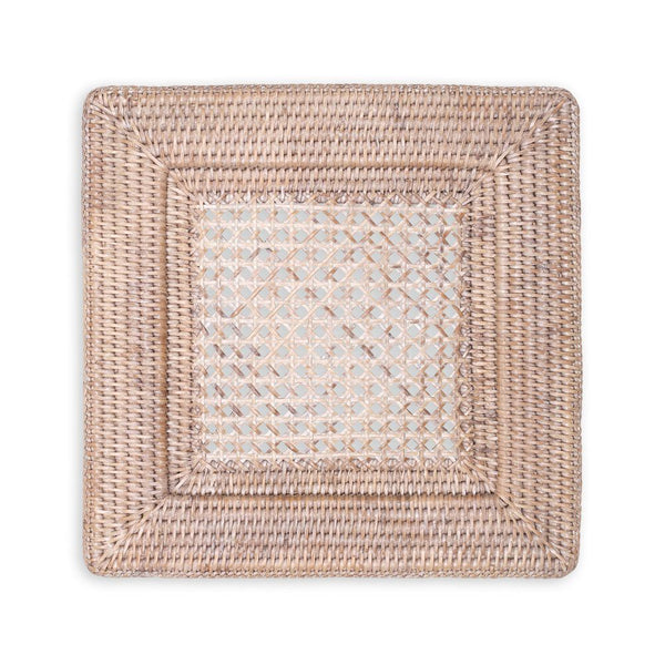 Caspari Rattan Square Plate Charger in White Natural