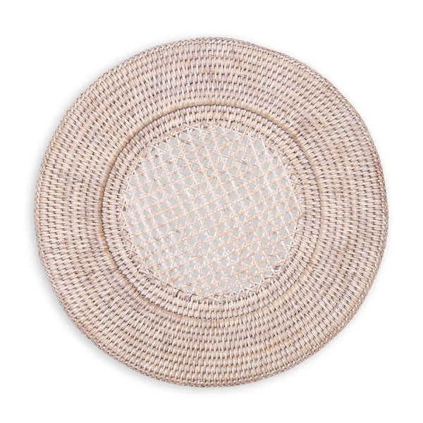 Caspari Rattan Round Plate Charger in White Natural