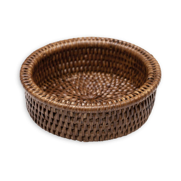 Caspari Rattan Wine Bottle Coaster in Dark Natural