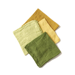 Deborah Rhodes Washed Linen Yellow and Green Napkins (set of six)