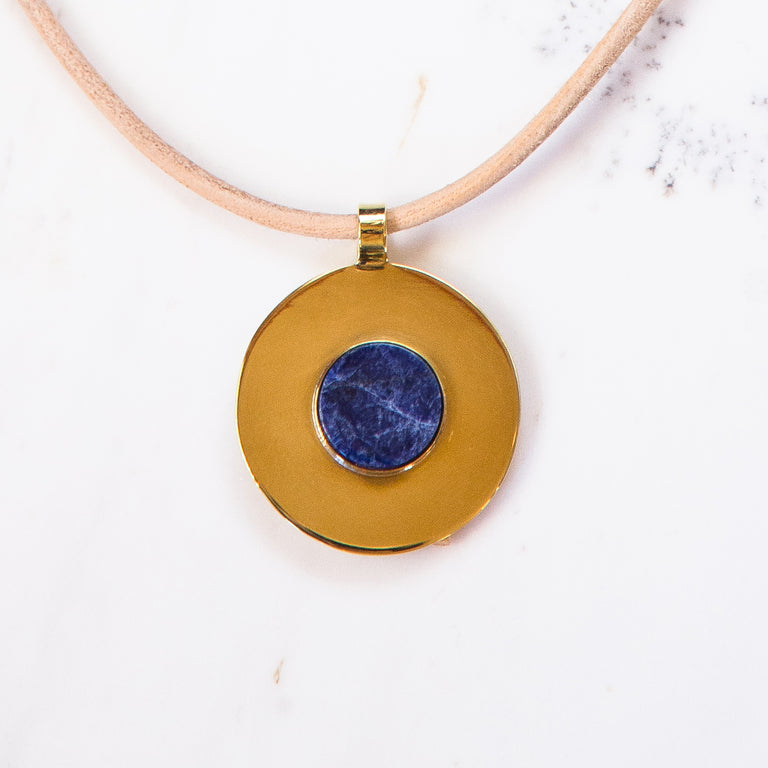 Medium Medallion Necklace-Sodalite