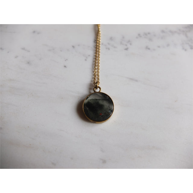 Small Medallion necklace-Blood Stone