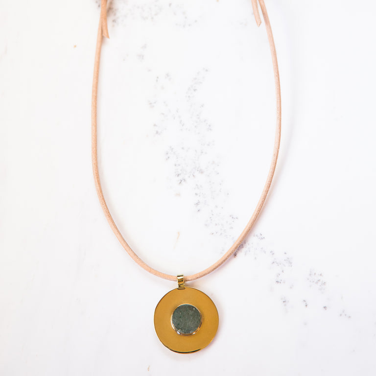 Medium Medallion Necklace-Aventurine