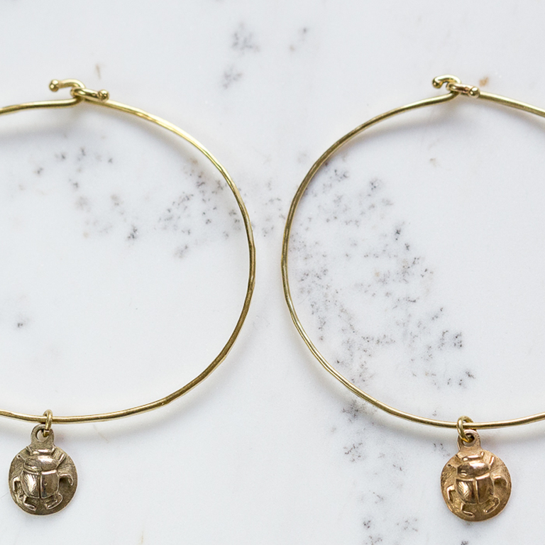 Hold Me Tight Scarab Beetle Charm Bangle