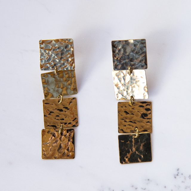 Brass 4 square earrings