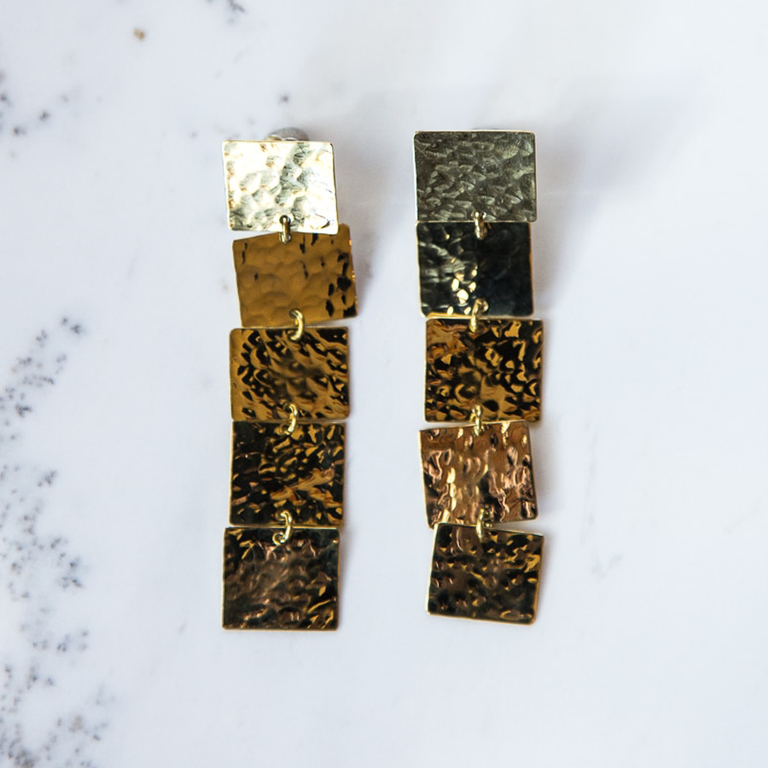 Brass 5 square earrings