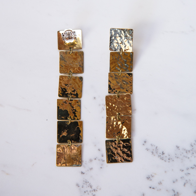 Brass 6 square earrings