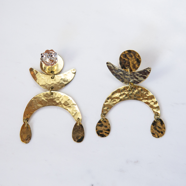 Brass Dancing Luna Earrings