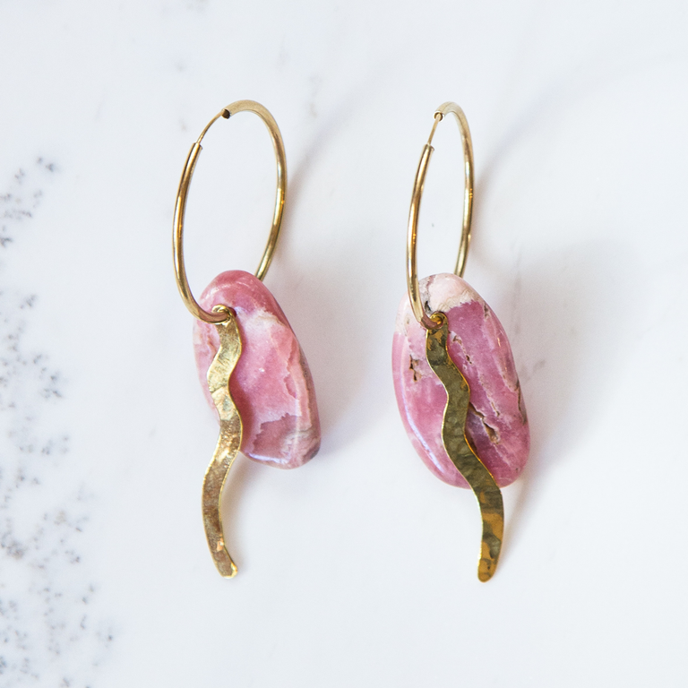 Rhodochrosite and brass wave earring