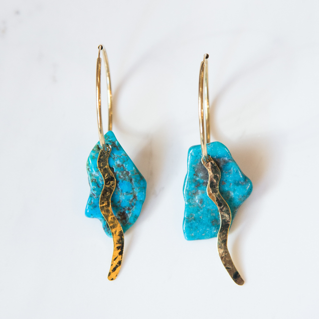 Turquoise and Brass Wave Earrings