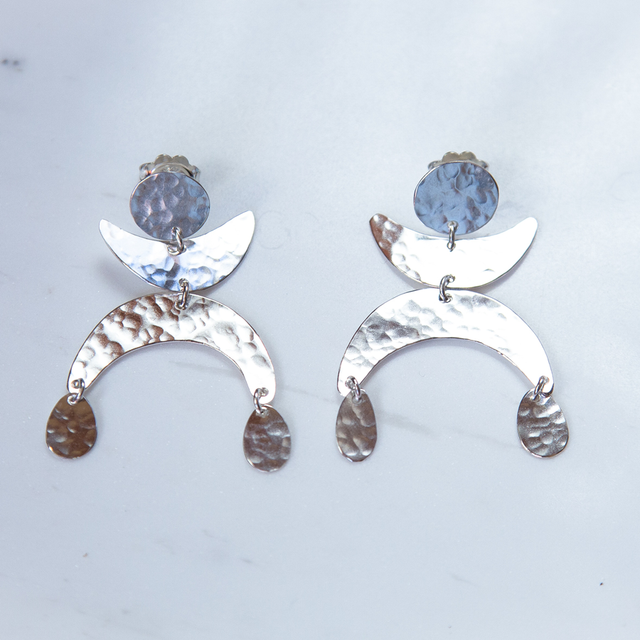 Silver Dancing Luna Earrings