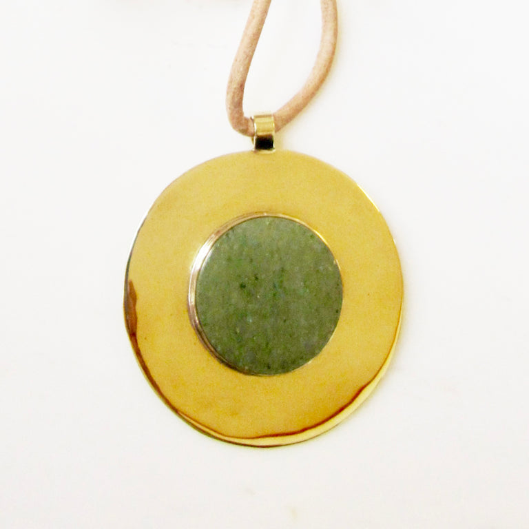 Big Medallion Necklace-Aventurine