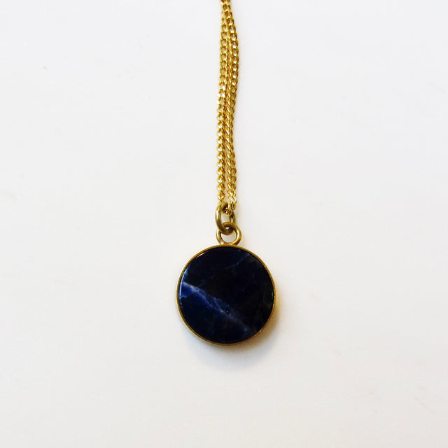 Small Medallion necklace-Sodalite