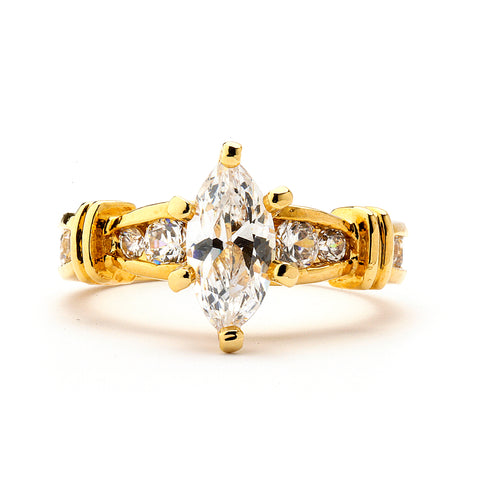 1.5 Ct Marquise Cut Engagement Ring 14-kt Gold Filled