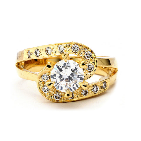 1-Ct Round Brilliant CZ Engagement Ring 14-kt Gold Filled