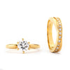 2-Ct CZ Engagement and Wedding Band Set - 14-kt Gold Filled
