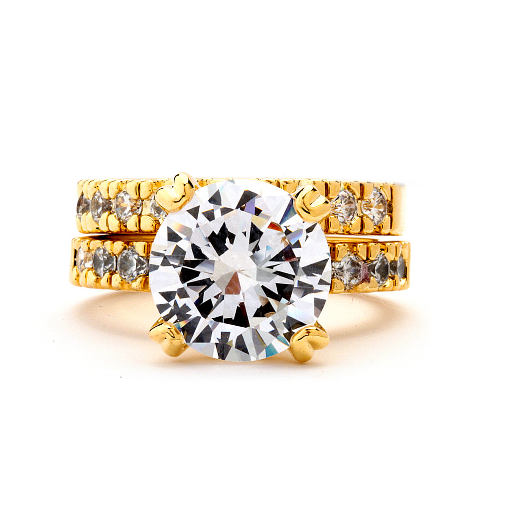 5-Ct CZ Engagement and Wedding Band Set - 14-kt Gold Filled