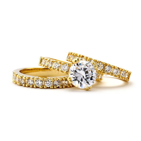 2-Ct CZ Engagement and Wedding Band Triple Set - 14-kt Gold Filled