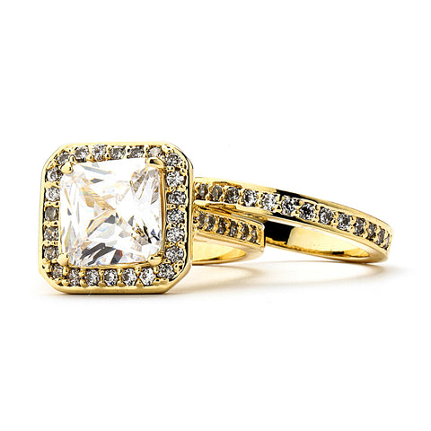 5-Ct Cushion Cut CZ Engagement and Wedding Band Set - 14-kt Gold Filled