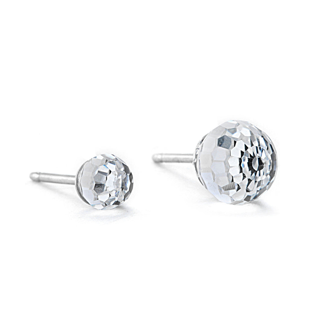 Swarovski Crystal Ball Button Earrings - Crystal