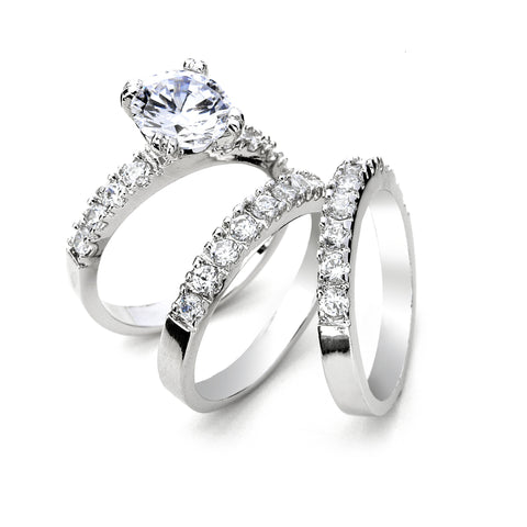 2-Ct CZ Engagement and Wedding Band Triple Set