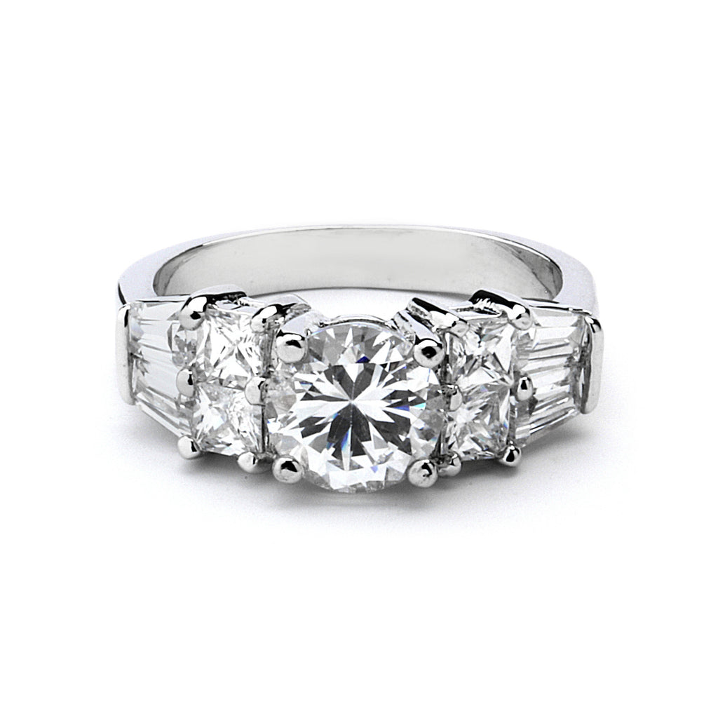 2-Ct CZ Engagement Ring with Side Stones