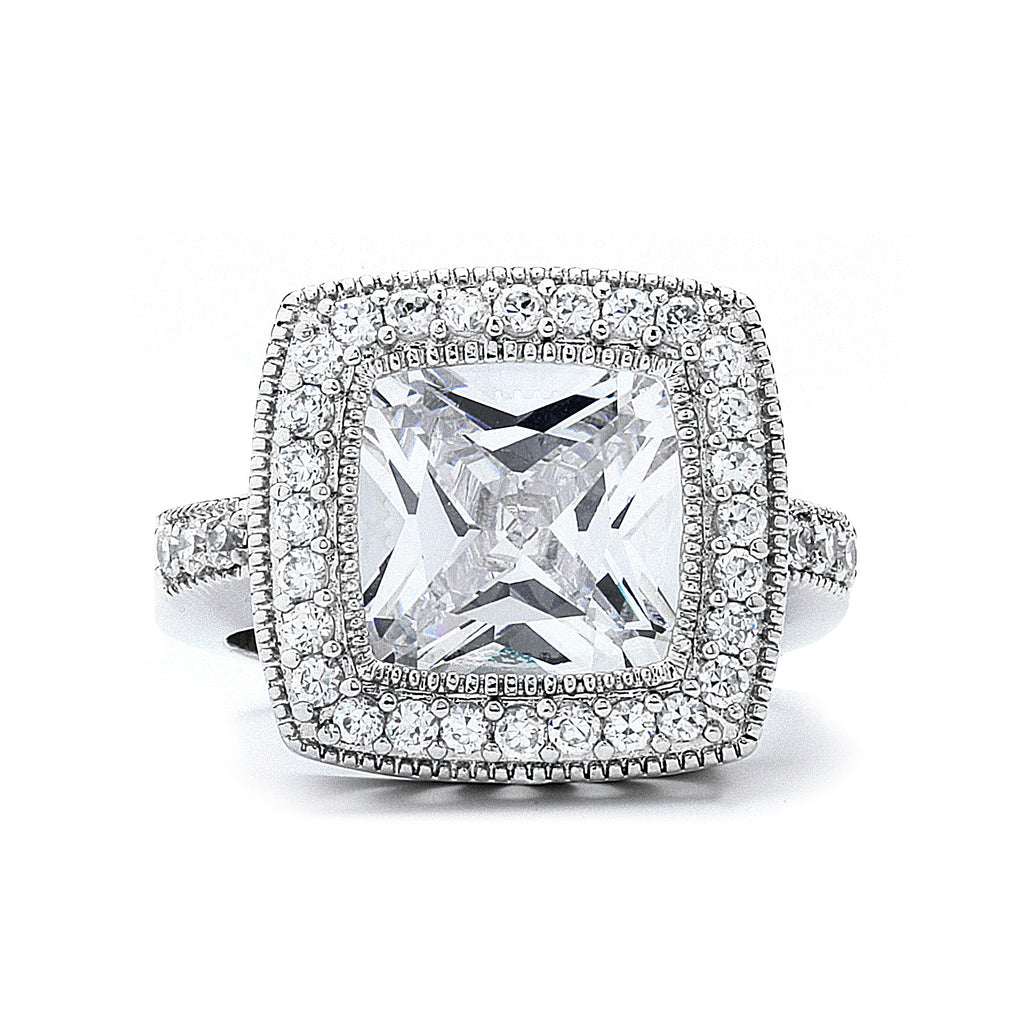 5-Ct Cushion-Cut CZ Ring