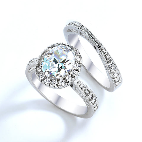 3 Carat Grade AAAAA CZ Oval Cut with Pave Engagement Ring Set