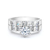 1-Ct Round Premium CZ Engagement Ring Set with Side Stones