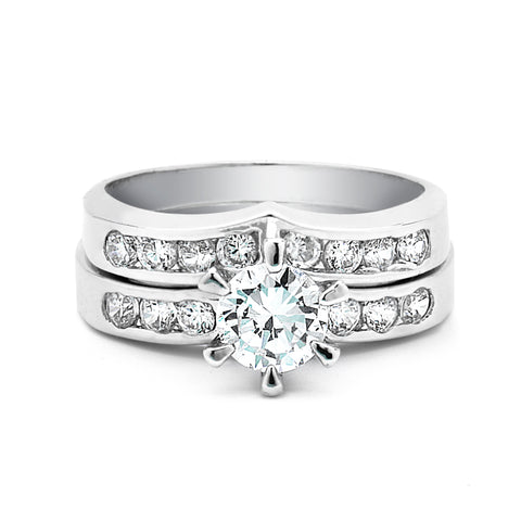 1-Ct CZ Engagement and Wedding Band Set