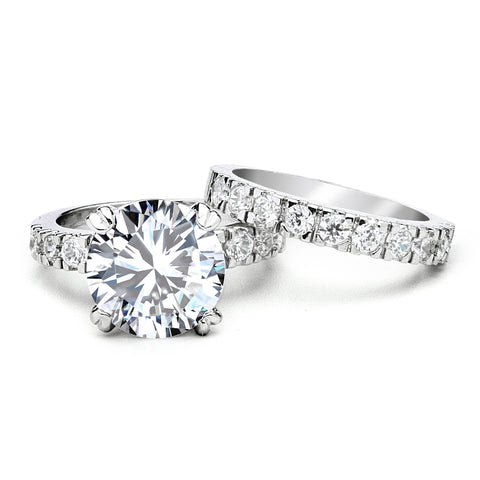 5-Ct CZ Engagement and Wedding Band Set