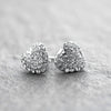 Pave CZ Heart Earrings-Rhodium Plated