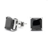 Black Cubic Zirconia Princess-Cut Stud Earring