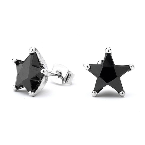 Onyx Star Grade AAAAA CZ Stud Earrings