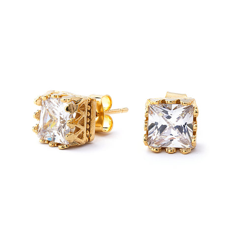 Princess Cut Grade AAAAA Crown Setting Stud Earring. 14K Gold Plated.