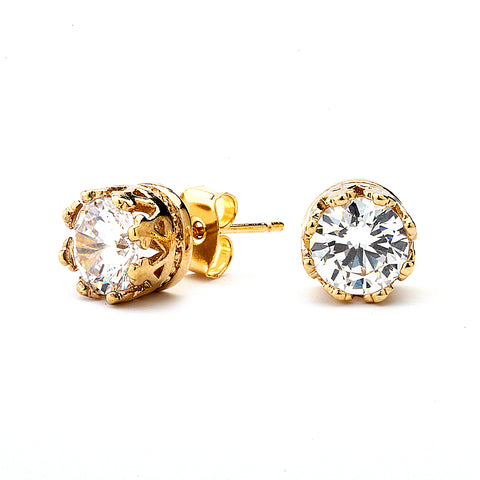 Round Cut Grade AAAAA Crown Setting Stud Earring. 14K Gold Plated.