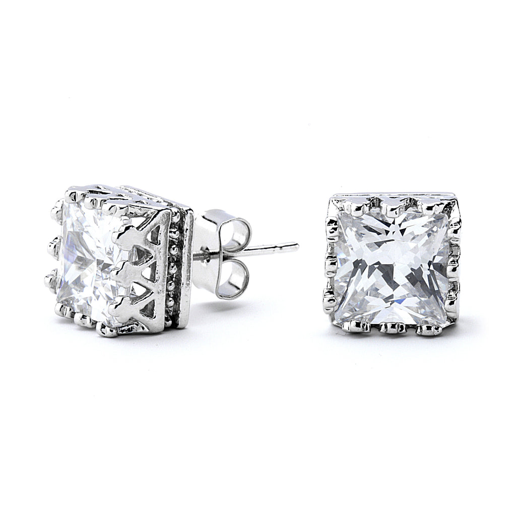 Princess Cut Grade AAAAA Crown Setting Stud Earring
